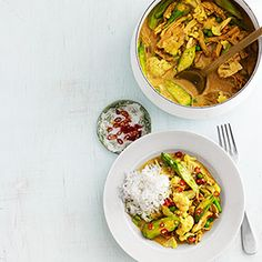 Chicken-and-Okra Curry. Substitute 2 tablespoons canola oil for the butter, and opt for light coconut milk, to save 170 calories and 20 grams of fat per serving.