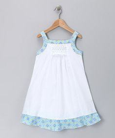 Take a look at this White & Blue Floral Candy Dress - Toddler & Girls by Alouette on #zulily today!