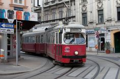 Trolley number 4560 on the number 49 line rounds the corner on Neubaugasse Street in Vienna, Austria. London Transport, Public Transport, Trains, Rail Europe, Bonde, Light Rail, European Tour, Vienna Austria, Commercial Vehicle