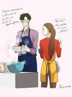 "umeko-sherlolly: ""to Sherlock helping Molly cook in her amazing kitchen. Sherlock Irene Adler, Sherlock Holmes Bbc, Johnlock, Supernatural, Sherlolly, Baker Street, Superwholock, Manga, Look Alike"