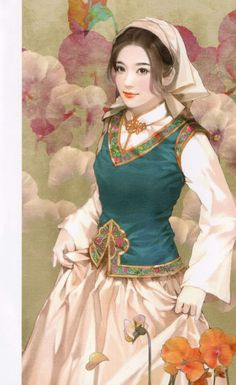 Xibe Girl - by Chen Shu Fen    So cute! I'd love to paint this way one day. - ✯ http://www.pinterest.com/PinFantasy/arte-~-la-mujer-en-el-arte-chino-women-in-chinese-/