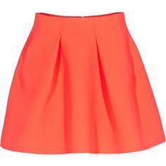 KENZO A-Line Orange Flared scuba skirt found on Polyvore