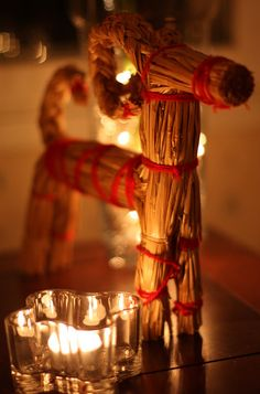 A traditional Finnish Christmas decoration- a straw billygoat.