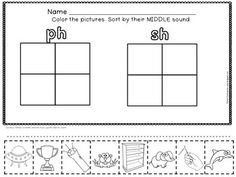 digraphs worksheet | Digraphs : ch, sh, th, ph, wh, and vowel team ...