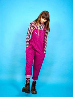 'Luna' Twill Cotton Dungarees in Raspberry by Lucy and Yak