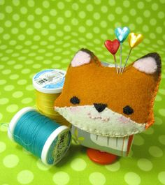 cute pin cushion felt fox #fox