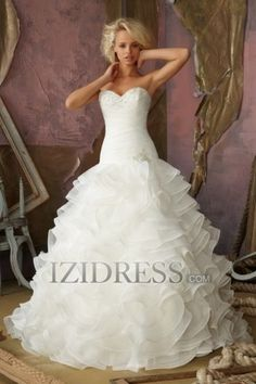 Ball Gown Strapless Sweetheart Chiffon Wedding Dress - IZIDRESS.com