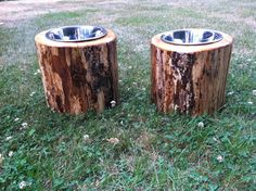 Log Dog Feeders Raised by TuckersKnottyDreams on Etsy