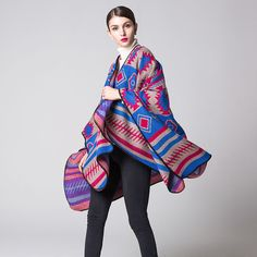 Red&Blue Winter Women Geometric Warm Cashmere Thick Ponchos Shawl Capes Wraps #NITEOWL #Cape #Casual