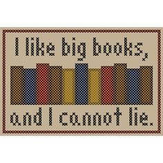 """I like big books and I cannot lie"" needlework -- 12 Crafts Perfect for Librarians"