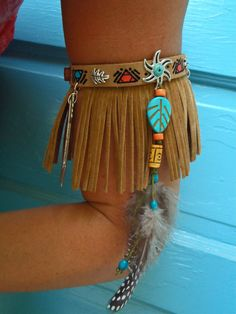 ARM BAND NATIVE leather Fringe Arm Cuff Cowboy Boot by GPyoga, $48.00