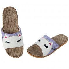 Purple Cartoon Skidproof Linen Slippers