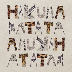 typography-leopard-hakuna-matata-art-print-illustration-home-decor-lionking-disney-noworries-possitive-message-cool-hipster-vintage-typograp...