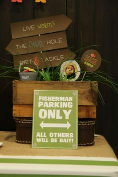 sign fisherman parking only all others will be bait! Gone Fishing Birthday | CatchMyParty.com