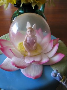 "Lotus Fairy.  ANCDA 2009 Sugar Craft Competition Entry - my first competition cake - looking forward to the feedback.  Fairy is made by hand except for the face which was made with a mould.  Bubble is made out of gelatine.  All decorations are edible  except the ""pin"" that is supporting the dragonfly during transport!"