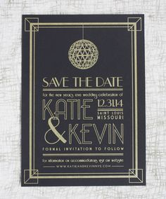 New Year's Eve Wedding Save the Date #savethedate #wedding #invitation #NYE #artdeco #blackandgold