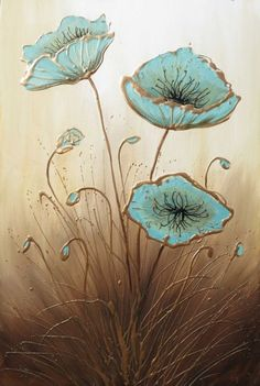 ARTFINDER: Three Himalayan Poppies by Amanda Dagg - A big tall painting of three Himalayan Poppies. I've painted these poppy flowers a duck egg blue and the gold and cream bring a warmth to the painting. pictures Amanda Dagg - Paintings for Sale Silk Painting, Painting & Drawing, Poppies Painting, Paintings Of Flowers, Hot Glue Art, Raindrops And Roses, Gun Art, Paintings For Sale, Painting Inspiration