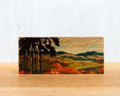 Paint by Number Mini artblock, tree silhouette landscape, fall, vintage. $19.00, via Etsy.