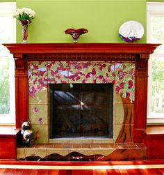 Fireplace Decorative Tiles Fireplace Designedmichelle Nelson Using Motawi Tiles  Arts