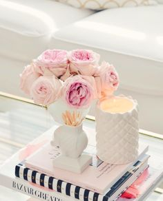 Bedside Table Decor, Table Decor Living Room, Peonies And Hydrangeas, Pink Peonies, Coffee Table Styling, Just Pretend, Luxury Candles, Inspirational Gifts, Home Decor Accessories