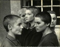 Actresses (L-R) Vera Miles, Barbara Bel Geddes, Carla Gravina Silvana Mangano and Jeanne Moreau, w. shaved heads, in film Five Branded Women.