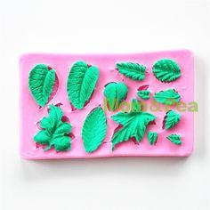 Mom&Pea 0736 Free Shipping Leaf Shaped Silicone Mold Sugar Paste 3D Fondant Cake Decoration 9.7*6*1cm