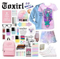 """""""Back To School #1"""" by toxirl ❤ liked on Polyvore featuring Newbreed Girl, Cotton Candy, Converse, Vans, Casetify, Muse, Crate and Barrel, i am a, Mary Kay and Maybelline"""