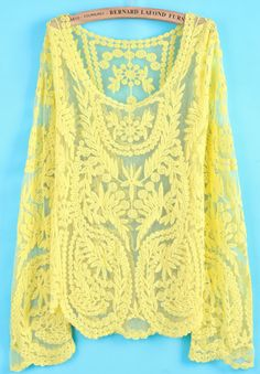 Yellow Long Sleeve Hollow Crochet Lace Blouse by: SheInside