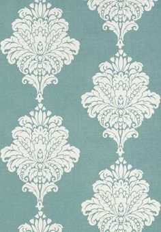 Arturo Damask #wallpaper and coordinating embroidered #fabric in Turquoise from the #Monterey Collection by #Thibaut