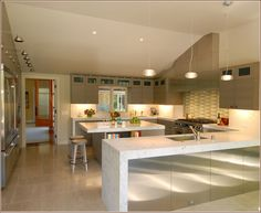 The warmth is striking, yet this is still quite neutral for a kitchen.