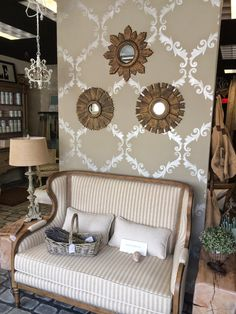 Acanthus Trellis Wall Stencil from Royal Design Studio with neutral and metallic color palette