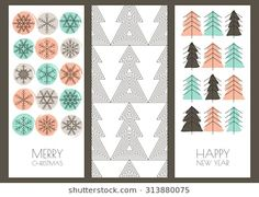 Set of vector hand drawn New Year and Christmas greeting cards. Linear snowflakes, fir tree and watercolor blots background. Trendy design template for holiday, flyer, label, tag, invitation, banner.