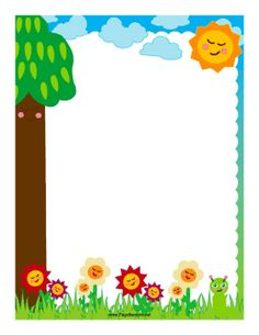 Colorful flowers and a little green worm decorate this border. Free to download and print.