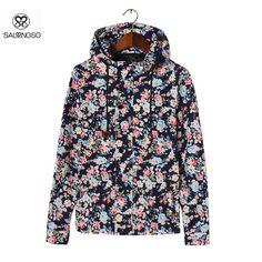 Casual Men Jacket With Hood Flower Print