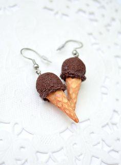 Cornet à glace en polymère, glace au chocolat, boucles d'oreilles gourmandes, cornets à glace en polymère Fimo, bijou gourmand, bijou sucré