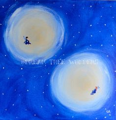 Two moons and back original painting by DreamTreeWonders on Etsy