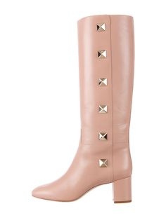 Nude leather Valentino knee-high boots with semi pointed toes, covered heels, gold-tone Macro Rockstud embellishments at sides and tonal stitching throughout. Includes box and dust bag.