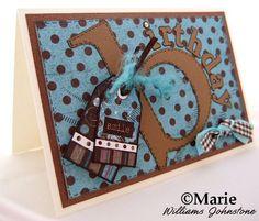 Polka dot brown and blue handmade Birthday card for men