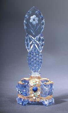 Czechoslovakian Cut Glass Perfume Bottle, circa 1920's,