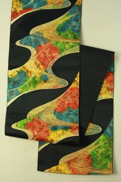 Black nagoya obi (rokutsu, hassun),  multiple color abstract pattern / 黒地 多色の抽象的両水柄 六通化繊八寸名古屋帯   #Kimono #Japan http://global.rakuten.com/en/store/aiyama/