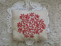 Primitive Christmas Flower Pillow FAAP OFG by annieshandmadedecor