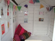 Playhouse Interior - Click pic for before and after pics on the blog x #playhouse #interiors #makeover #kidsgarden #play #kids #garden #bunting #picturegallery