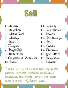 Guide to use in prayer: Self. (Link leads to a printable of this page).