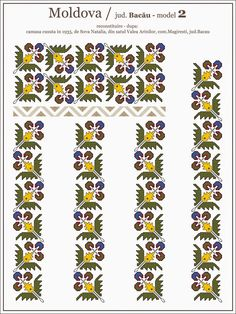 Semne Cusute: traditional Romanian blouse from MOLDOVA, Bacau co. Simple Cross Stitch, Beaded Cross Stitch, Cross Stitch Borders, Cross Stitch Flowers, Cross Stitch Designs, Cross Stitching, Cross Stitch Patterns, Embroidery Sampler, Folk Embroidery