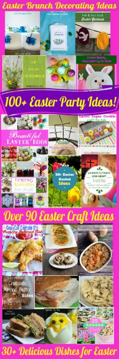 Over 100 Easter Party Ideas on Family Fun Friday at HappyandBlessedHome - everything you could possibly need including Easter basket ideas, delicious recipes for an out-of-this-world Easter brunch, crafts and party decor!