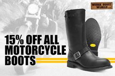 Get 15% off all motorcycle boots at www.workbootworld.com. Includes all regular priced motorcycle boots. Offer valid through Wednesday, October 14th, 2015. Must use promo code: WBWOPENROAD1015