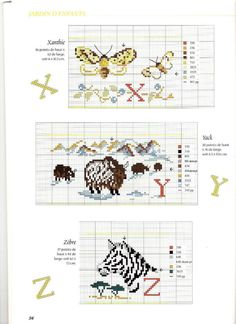 Cross stitch letters with animals - free cross stitch patterns crochet knitting amigurumi Cross Stitch Alphabet Patterns, Embroidery Alphabet, Cross Stitch Letters, Cross Stitch Animals, Embroidery Fonts, Cross Stitch Charts, Stitch Patterns, Crochet Patterns, Animal Decor