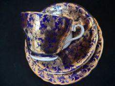 Gorgeous AYNSLEY navy & gilt tea trio