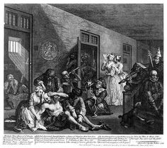William Hogarth - A Rake's Progress - Plate 8 - In The Madhouse-Finally insane and violent, in  he ends his days in Bethlehem Hospital (Bedlam). Only Sarah Young is there to comfort him, but Rakewell continues to ignore her. Fashionably dressed women in this last painting have come to the asylum as a social occasion, to be entertained by the antics of the inmates.