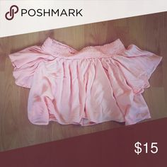 Urban Outfitters off the shoulder ruffle top! Urban Outfitters ruffle crop top in peachy pink. Worn once - excellent condition! Recently purchased only three months ago. Urban Outfitters Tops Crop Tops